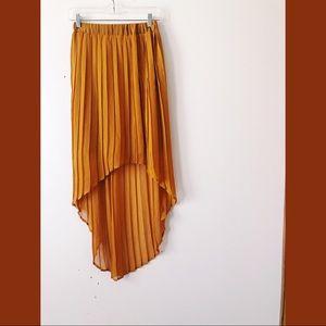 Pleated Mustard Yellow Aline Skirt Medium